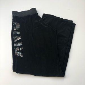 PINK Victoria's Secret black velour sweatpants
